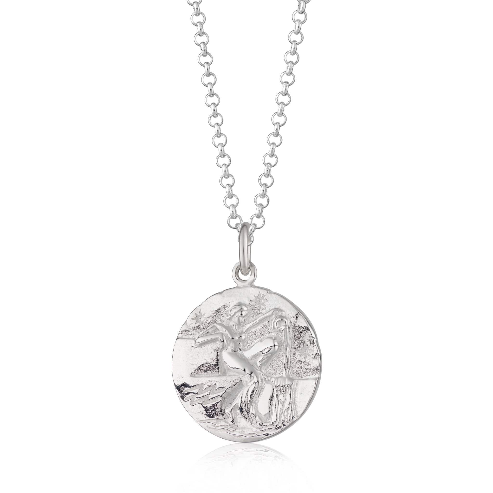 Personalised Silver Aquarius Zodiac Necklace - Lily Charmed
