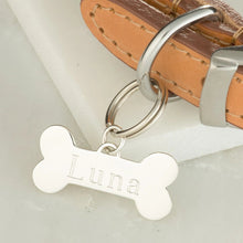 Engraved Silver Dog Bone Shaped Identity Tag - Lily Charmed