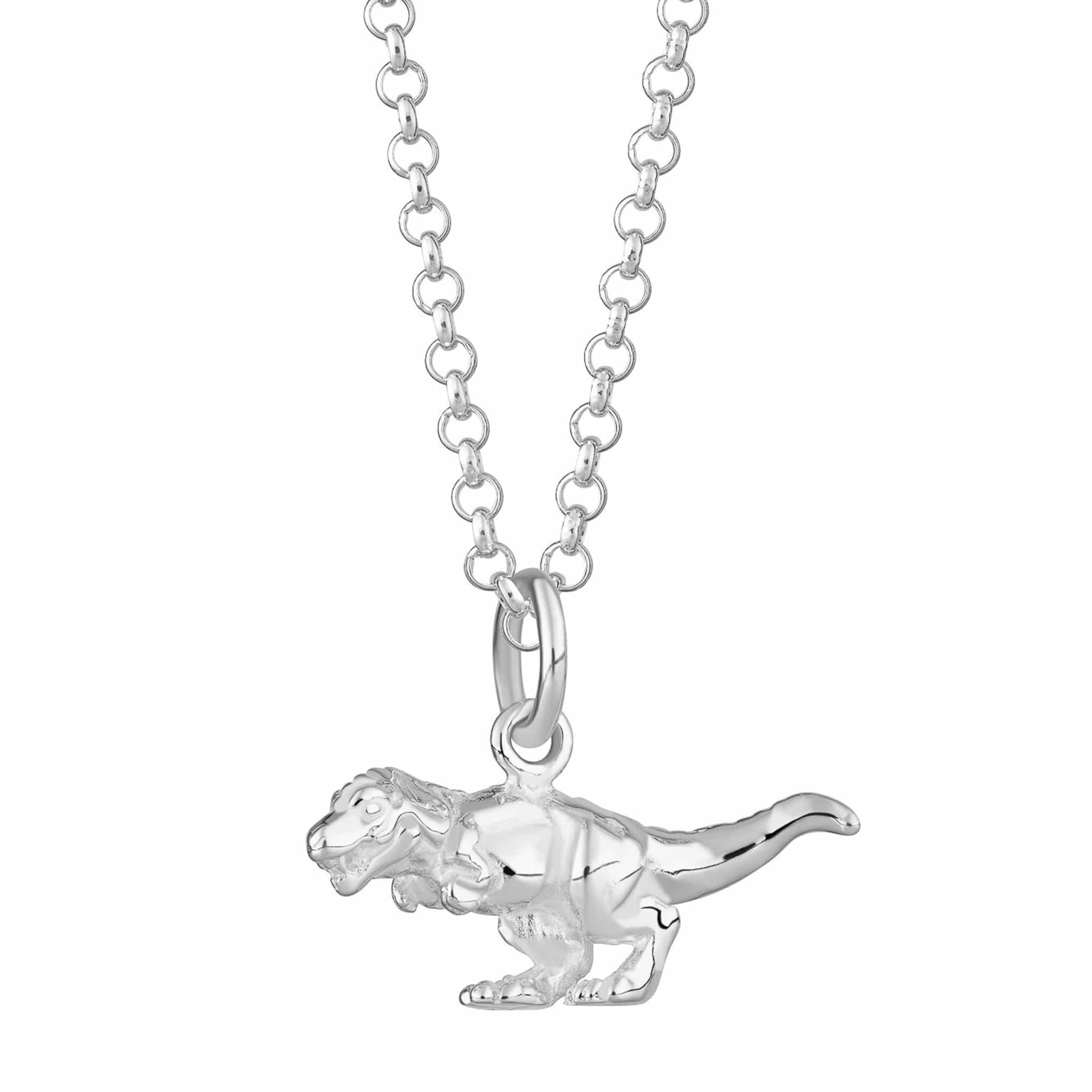 Personalised Silver T-Rex Necklace - Lily Charmed