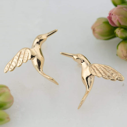 Gold Plated Hummingbird Stud Earrings - Lily Charmed