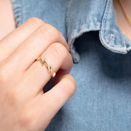Gold Plated Lightning Bolt Stacking Ring - Lily Charmed