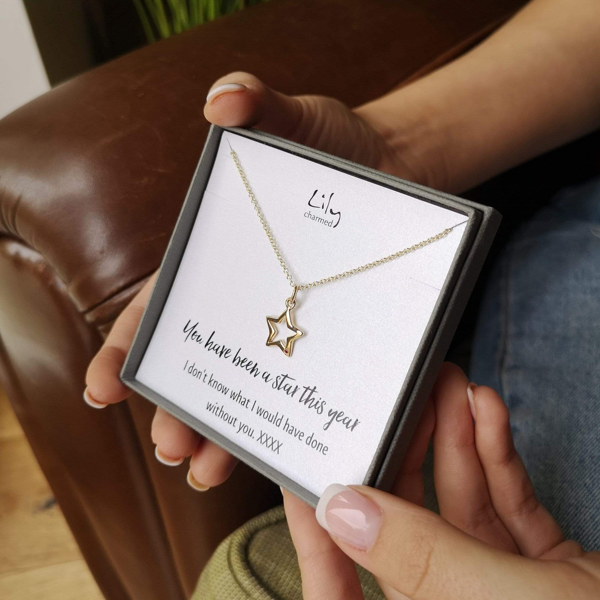Personalised 9 Carat Gold Open Star Necklace With Ruby