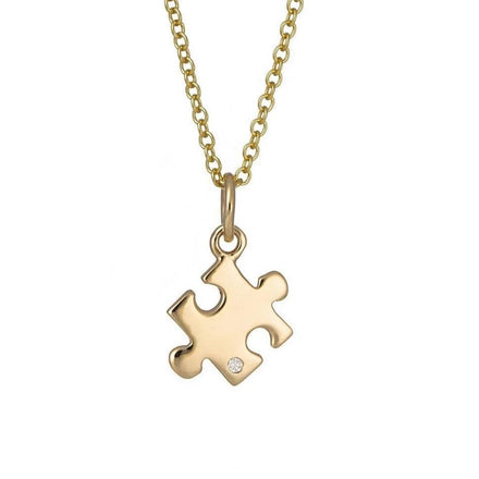 Personalised 9 Carat Gold and Diamond Jigsaw Necklace