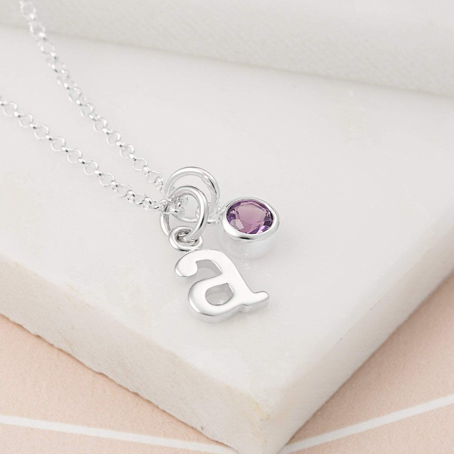 Personalised February Birthstone Necklace (Amethyst) - Lily Charmed