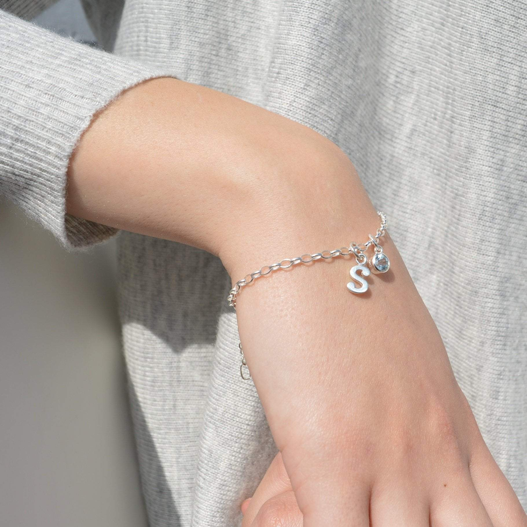 Children's Personalised Silver Initial Charm Bracelet - Lily Charmed