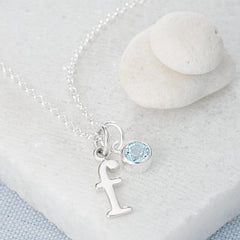 Personalised December Birthstone Necklace (Blue Topaz) - Lily Charmed