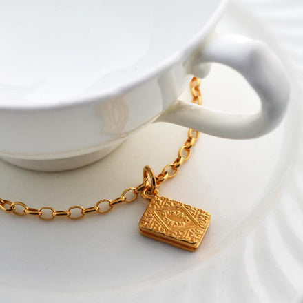 Personalised Gold Plated Custard Cream Bracelet - Lily Charmed