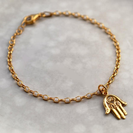 Personalised Gold Plated Fatima Hand Bracelet - Lily Charmed