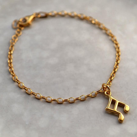 Personalised Gold Plated Music Note Bracelet - Lily Charmed