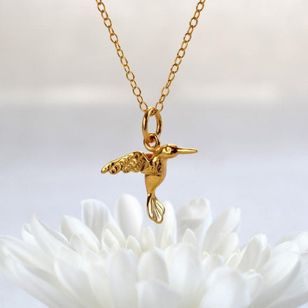 Gold Plated Hummingbird Jewellery Set With Stud Earrings - Lily Charmed