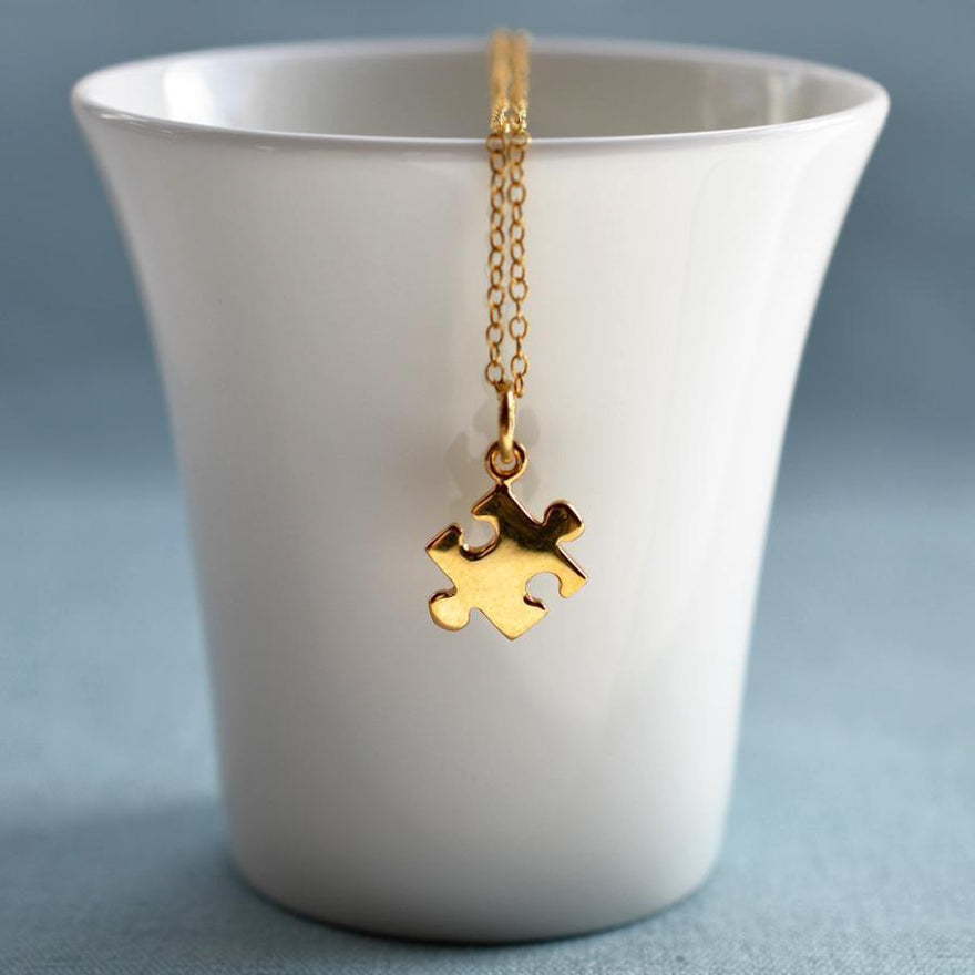 Personalised Gold Plated Jigsaw Necklace - Lily Charmed