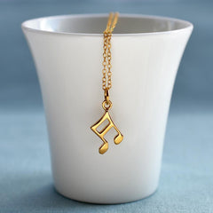 Personalised Gold Plated Music Note Necklace - Lily Charmed