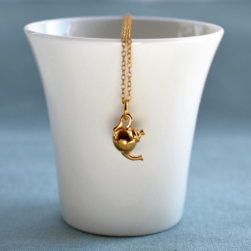 Personalised Gold Plated Teapot Necklace - Lily Charmed