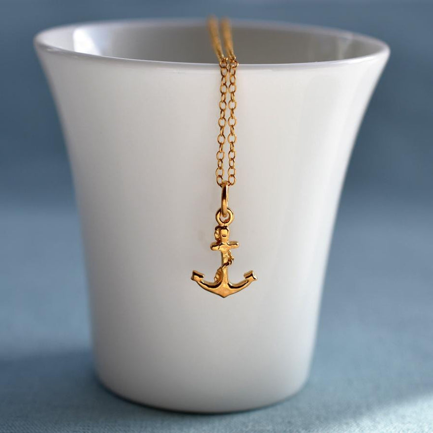 Personalised Gold Plated Anchor Necklace - Lily Charmed