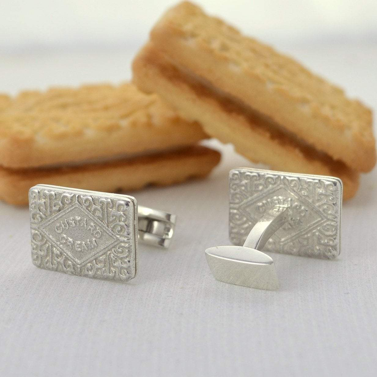 Silver Custard Cream Cufflinks - Lily Charmed