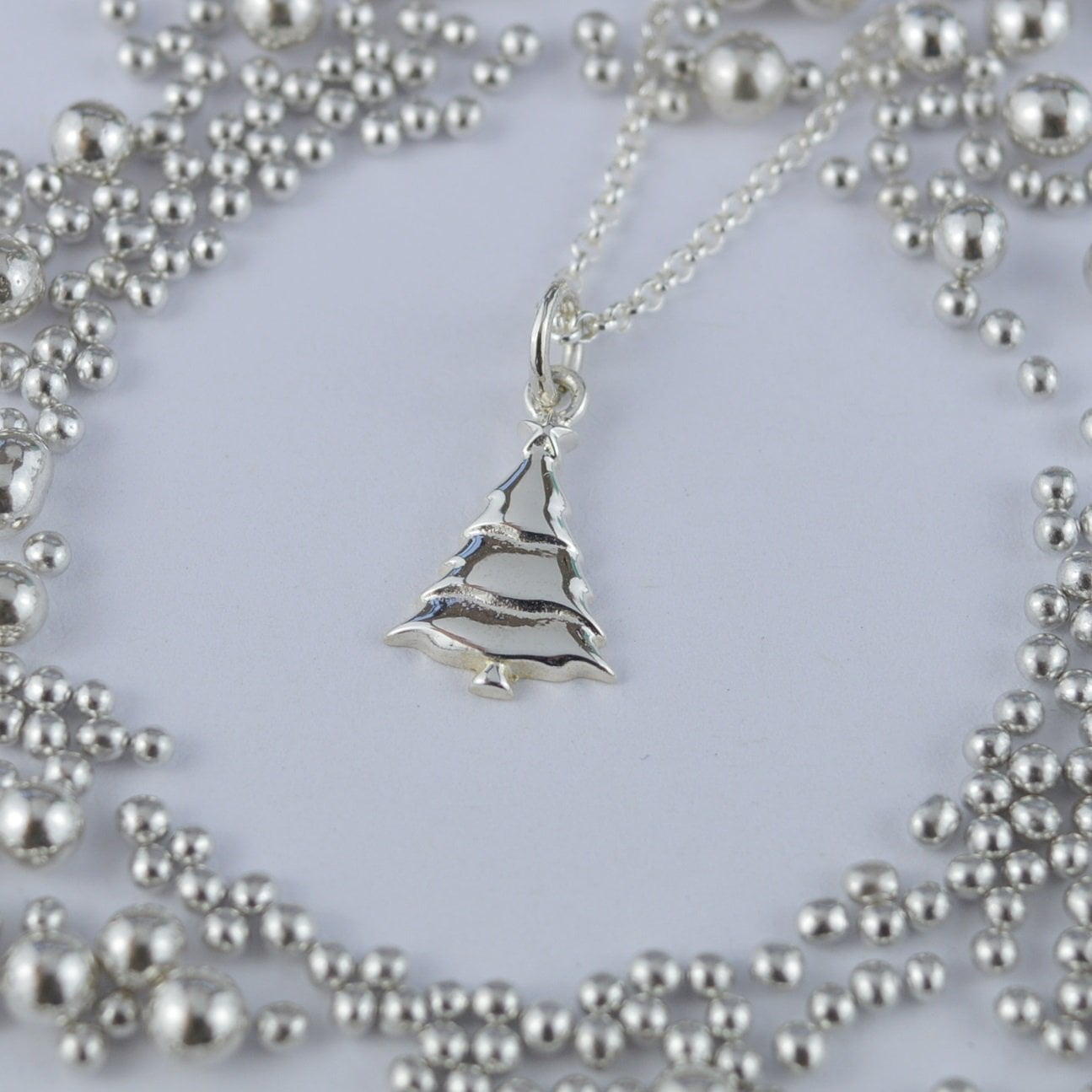 Personalised Silver Christmas Tree Necklace - Lily Charmed
