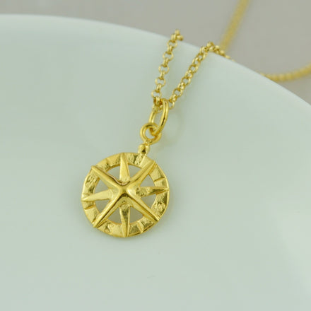 Personalised Gold Plated Compass Necklace - Lily Charmed