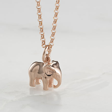 Personalised Rose Gold Plated Elephant Necklace - Lily Charmed
