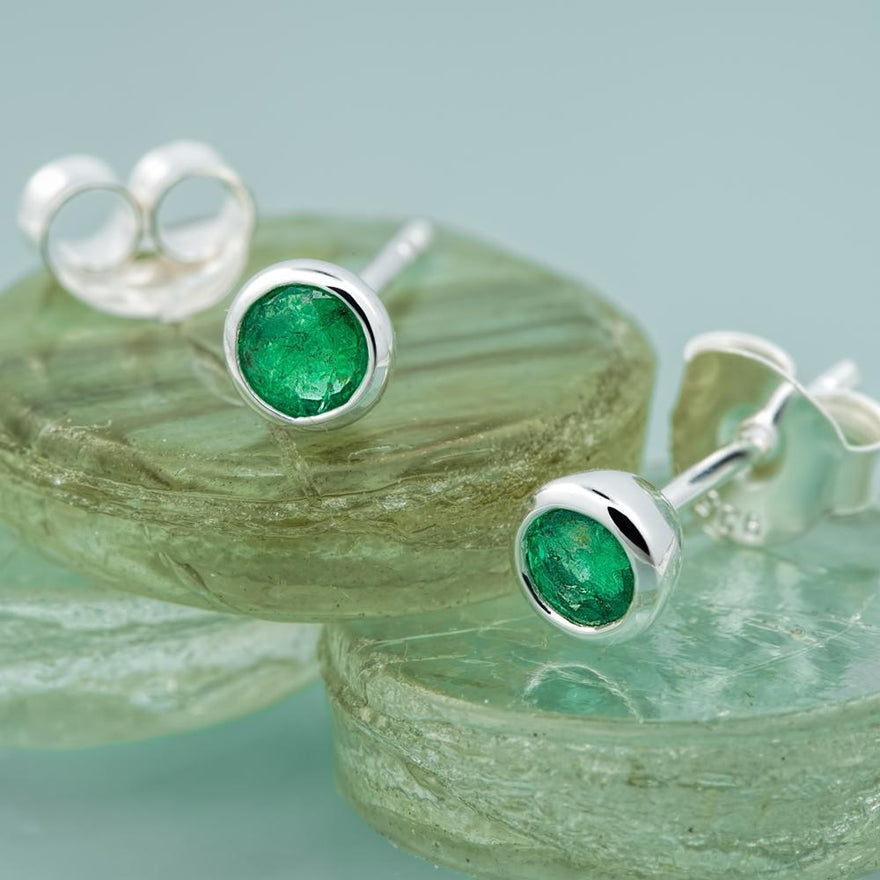 May Birthstone Earrings (Emerald) - Lily Charmed