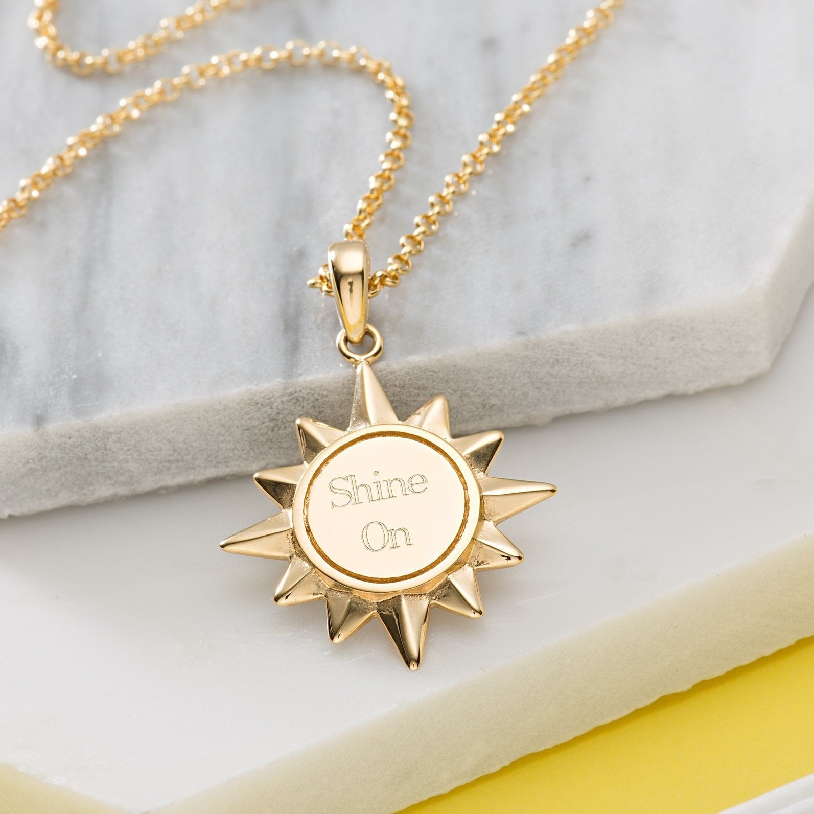 Engraved Gold Plated Sunshine Necklace - Lily Charmed