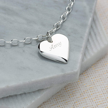 Engraved Silver Heart Bracelet - Lily Charmed