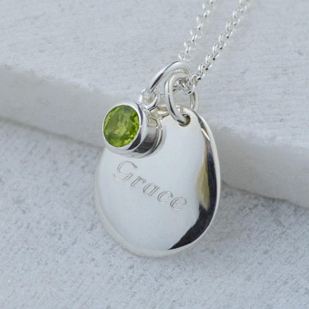 Engraved Pebble & Birthstone Necklace - Lily Charmed