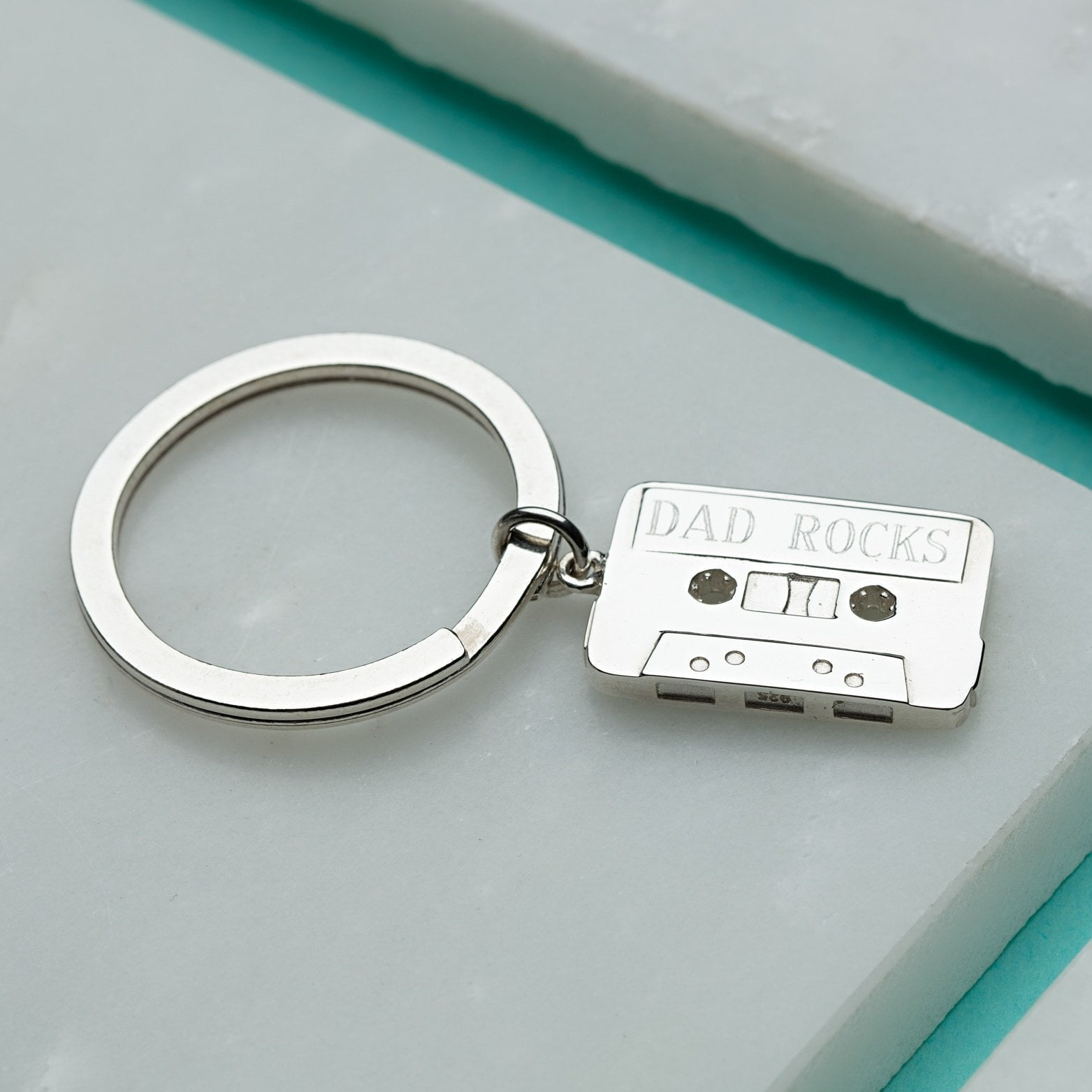 Engraved Silver Cassette Tape Key Ring - Lily Charmed