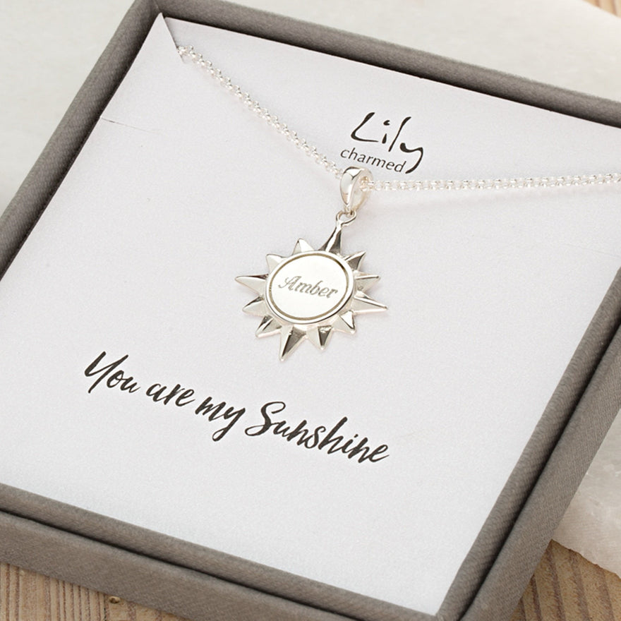 Engraved Silver Sunshine Necklace - Lily Charmed
