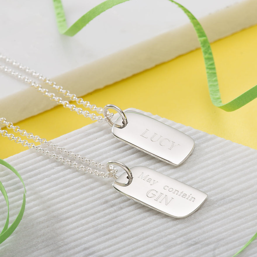 Engraved Silver Tag Necklace (Small) - Lily Charmed