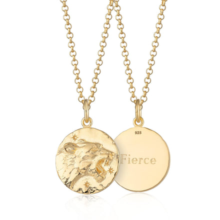 Engraved Gold Plated Leo Zodiac Necklace - Lily Charmed