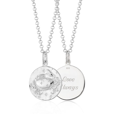 Engraved Silver Cancer Zodiac Necklace - Lily Charmed