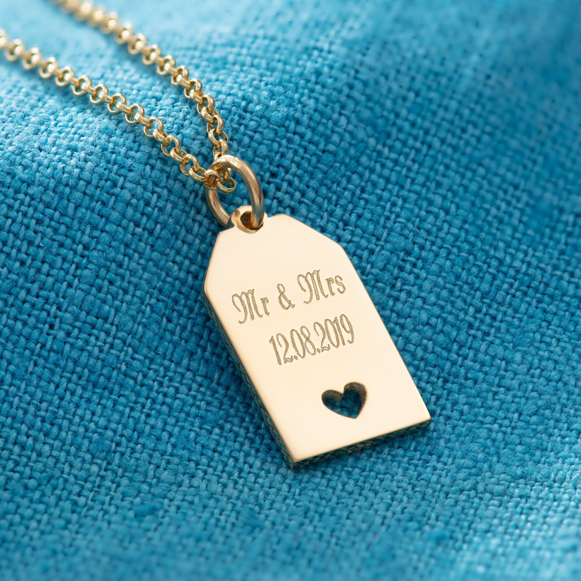 Engraved Gold Plated Heart Tag Necklace - Lily Charmed