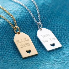 Engraved Silver Heart Tag Necklace - Lily Charmed
