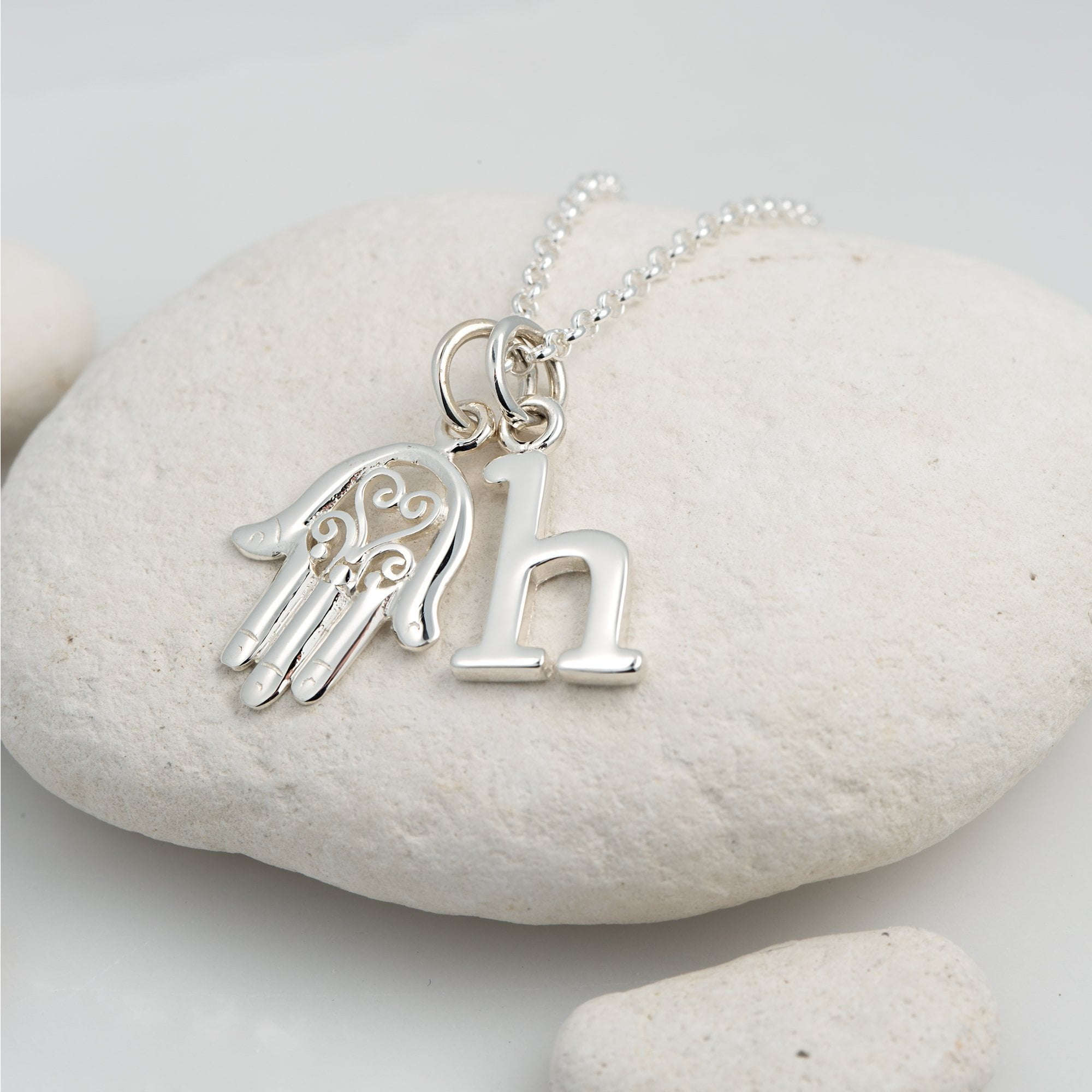 Personalised Silver Fatima Hand Necklace - Lily Charmed