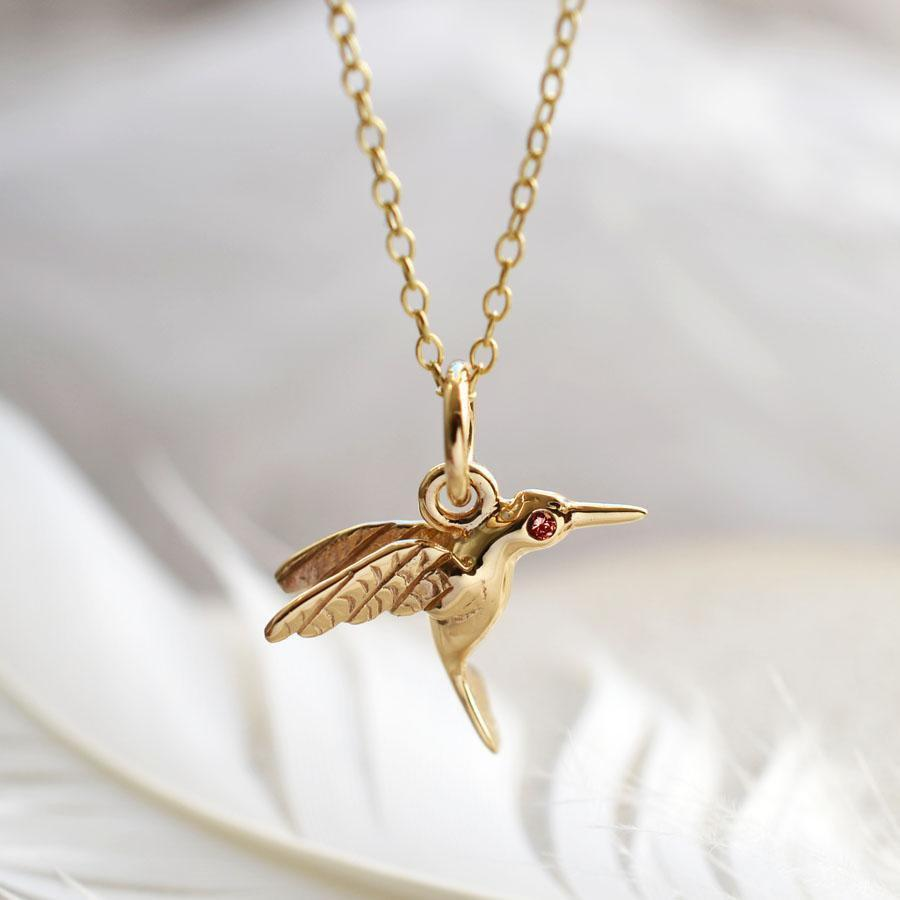 Personalised 9 Carat Gold and Ruby Hummingbird Necklace - Lily Charmed