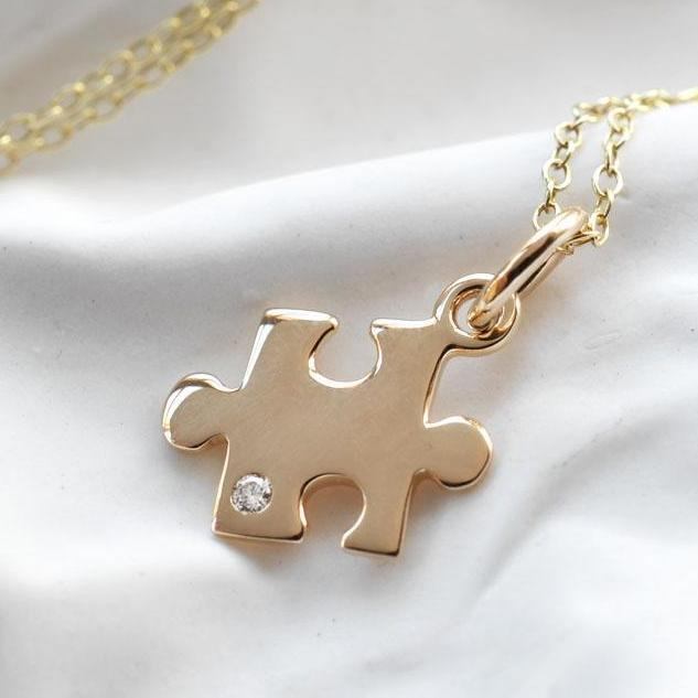 Personalised 9 Carat Gold and Diamond Jigsaw Necklace - Lily Charmed