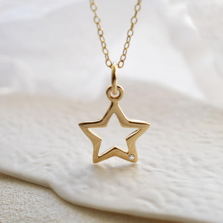 Personalised 9 Carat Gold and Diamond Open Star Necklace - Lily Charmed