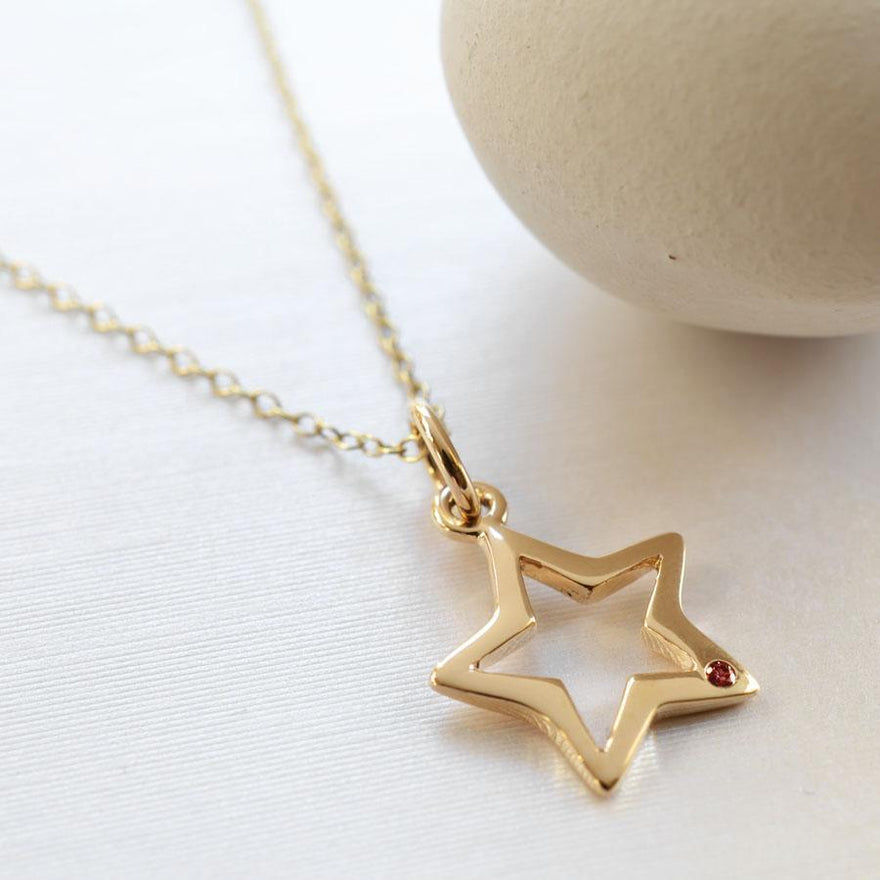 Personalised 9 Carat Gold and Ruby Open Star Necklace - Lily Charmed