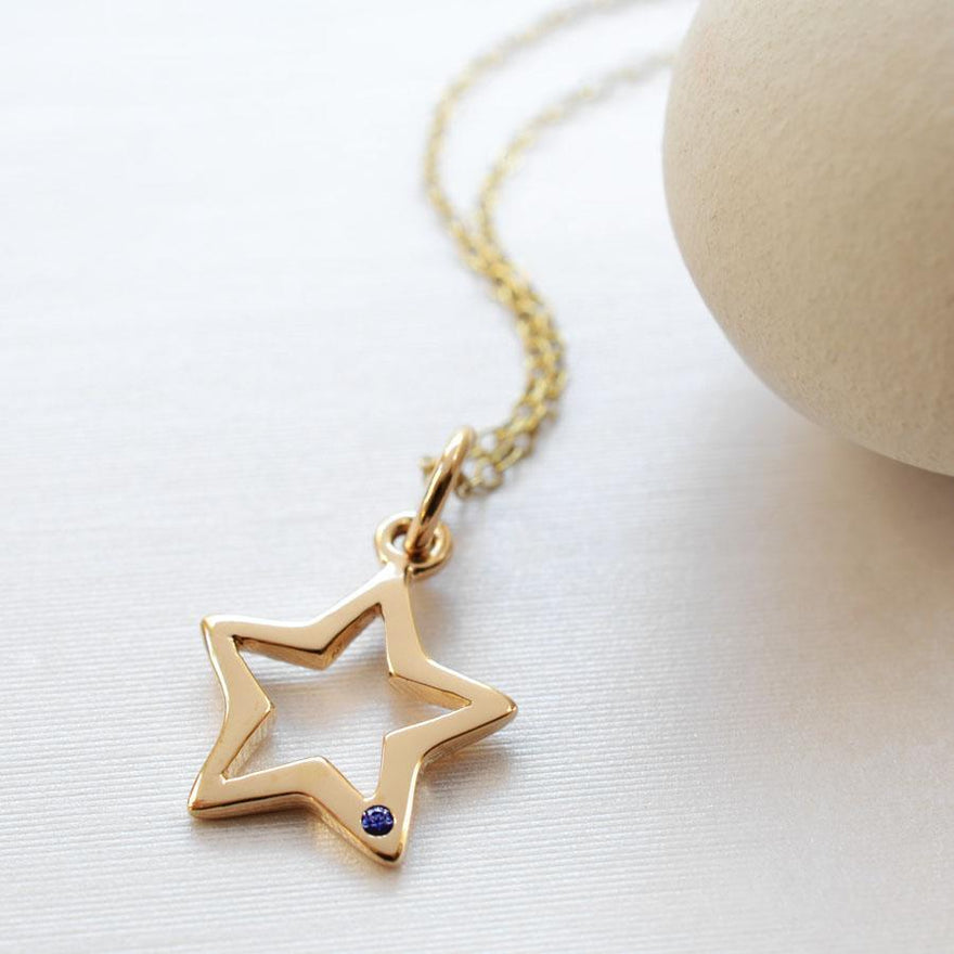 Personalised 9 Carat Gold and Sapphire Open Star Necklace - Lily Charmed
