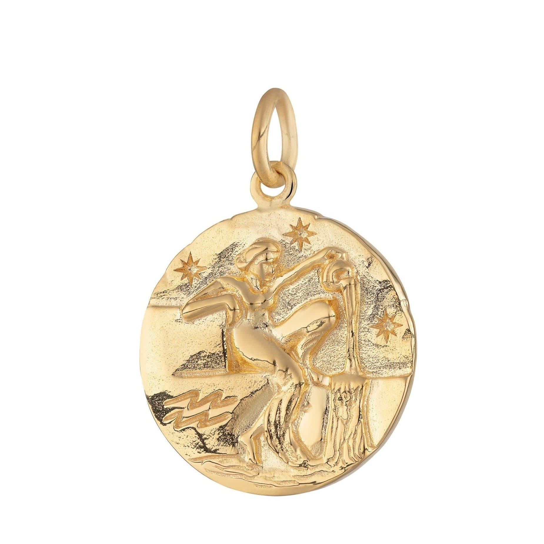 Gold Plated Aquarius Zodiac Charm