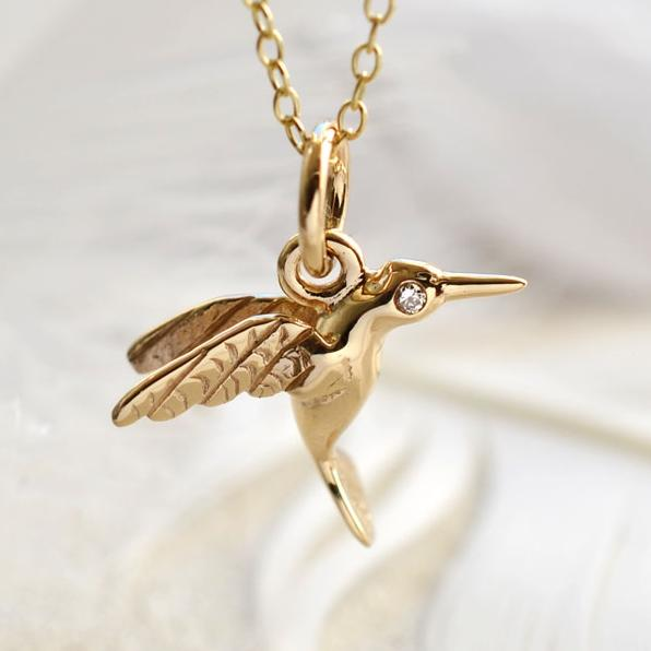 Personalised 9 Carat Gold and Diamond Hummingbird Necklace - Lily Charmed