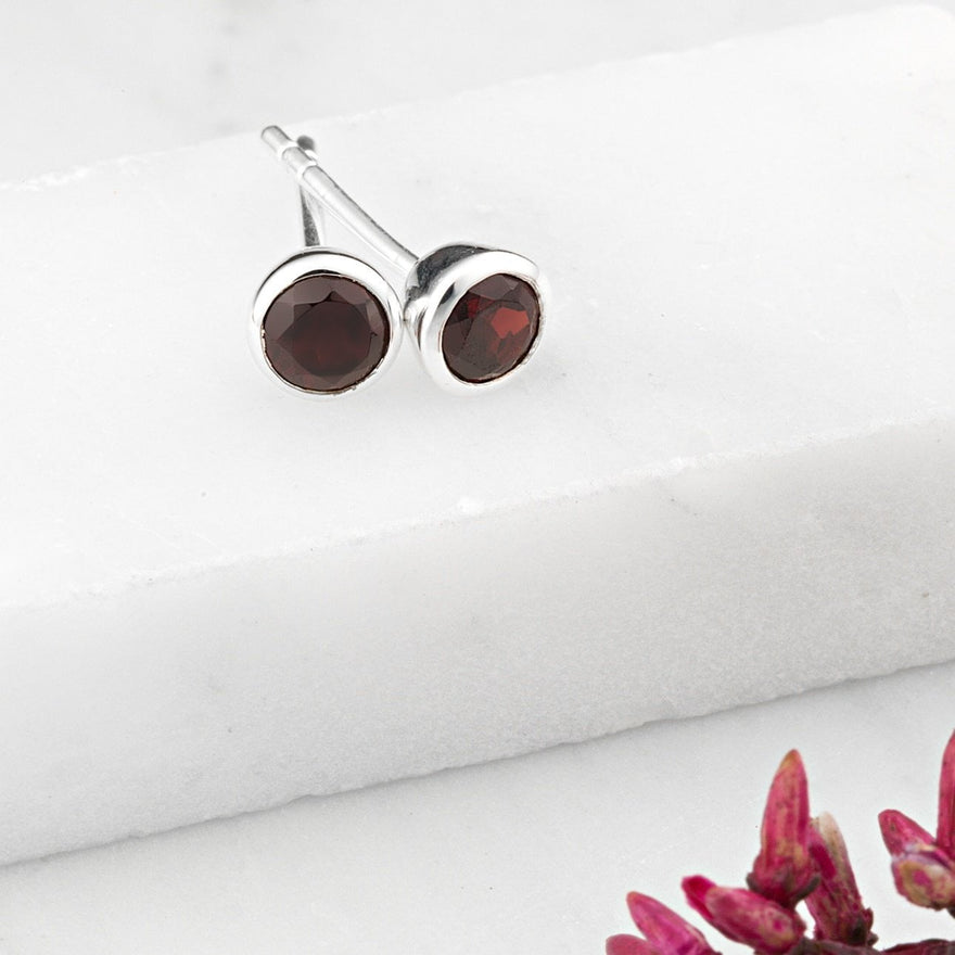 January Birthstone Earrings (Garnet) - Lily Charmed