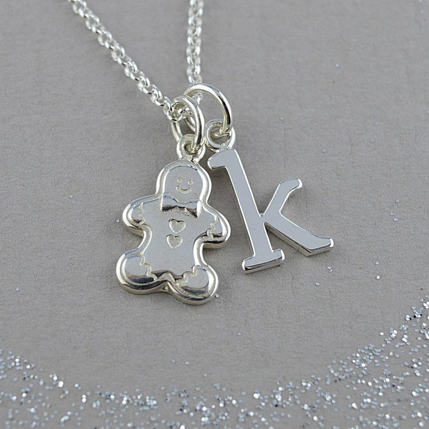 Personalised Silver Gingerbread Man Necklace - Lily Charmed
