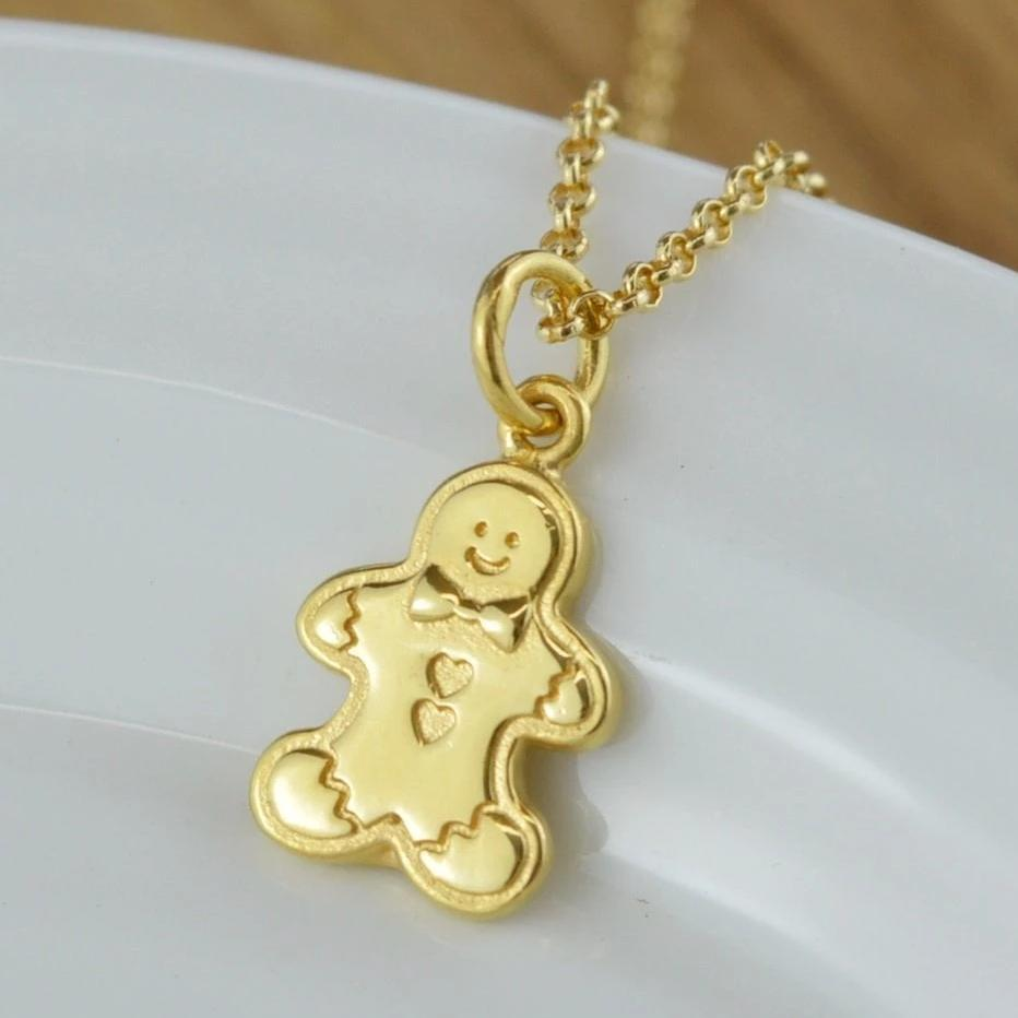 Personalised Gold Plated Gingerbread Man Necklace - Lily Charmed