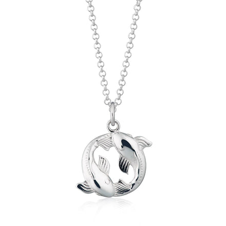 Personalised Silver Koi Fish Pisces Zodiac Necklace - Lily Charmed