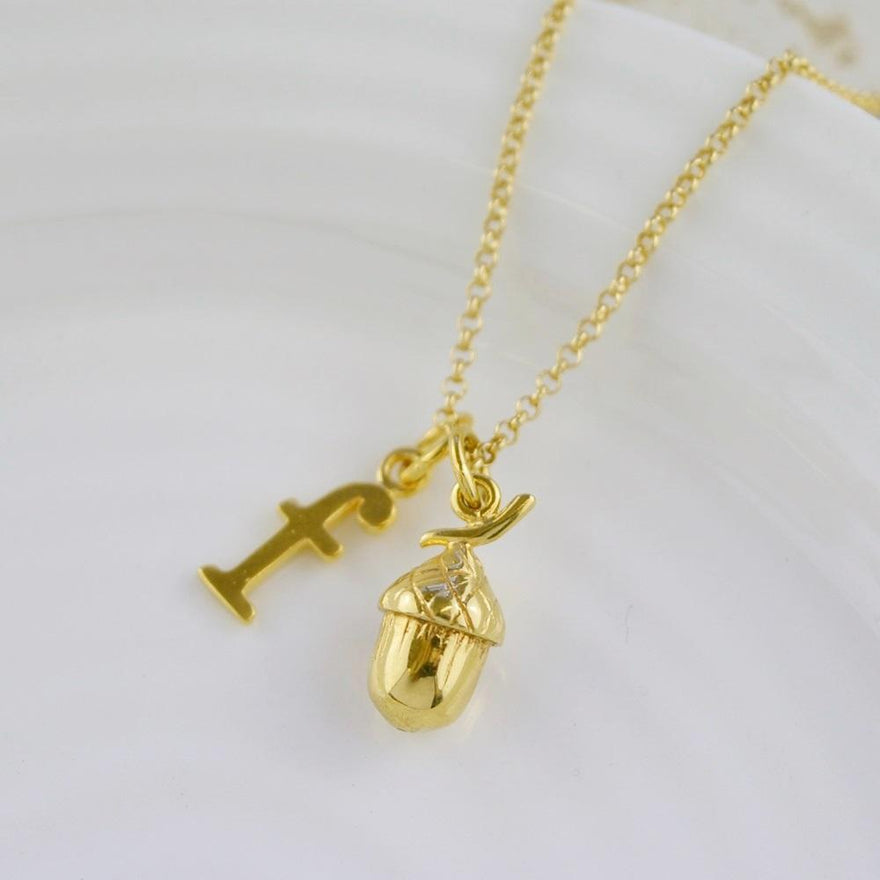 Personalised Gold Plated Acorn Necklace - Lily Charmed