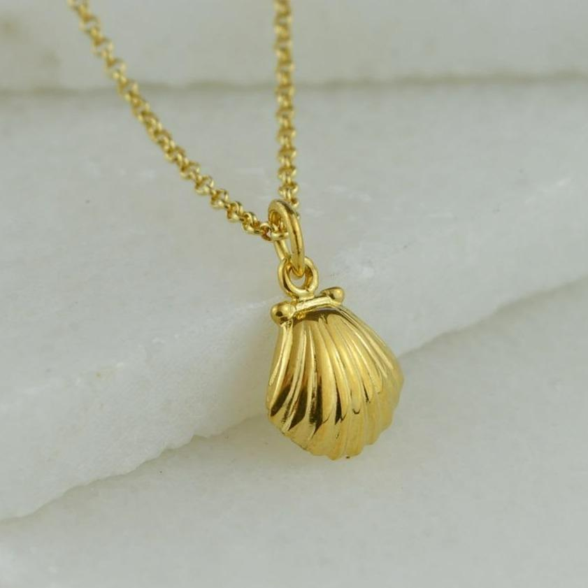 Personalised Gold Plated Clam Shell Necklace - Lily Charmed