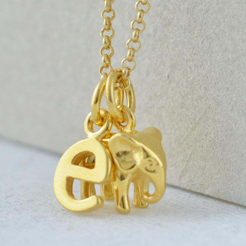Personalised Gold Plated Elephant Necklace - Lily Charmed