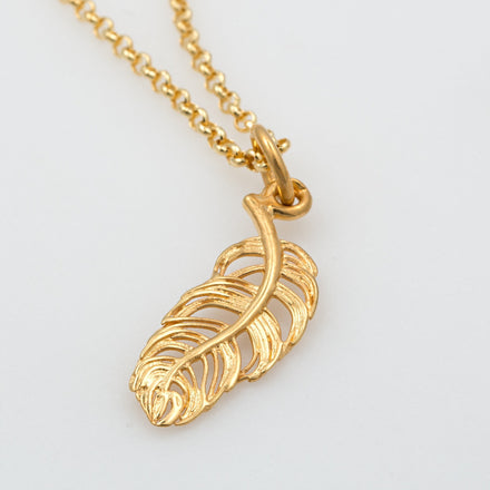 Personalised Gold Plated Feather Necklace - Lily Charmed