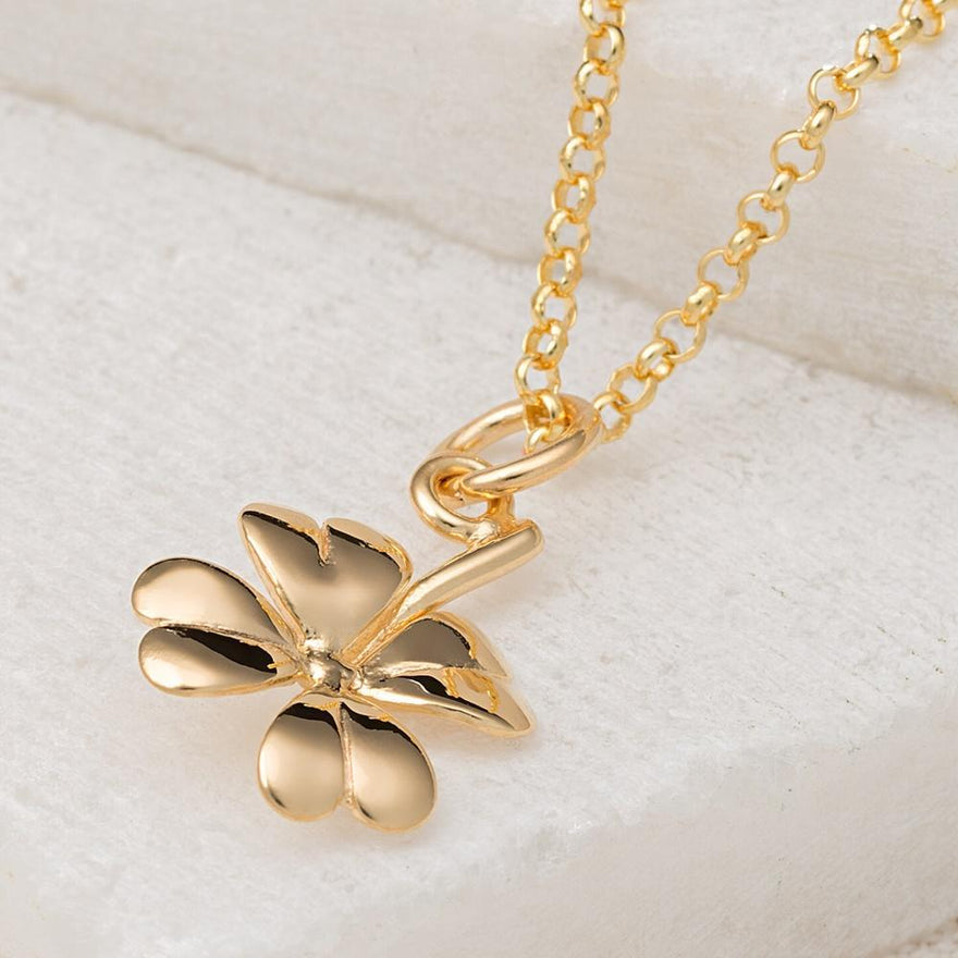 Personalised Gold Plated Four Leaf Clover Necklace - Lily Charmed